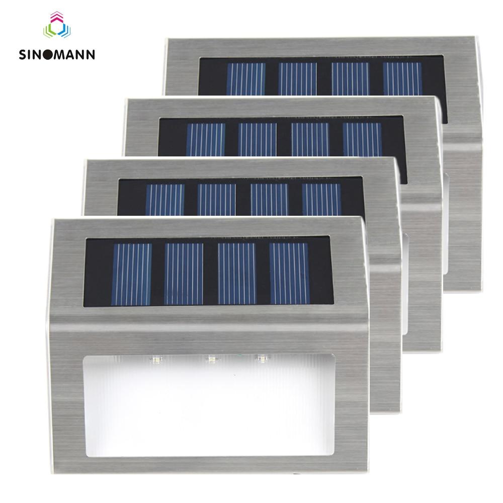 1-4pcs 3 LEDs Solar Light Stainless Steel Solar Power Garden Light Waterproof Outdoor Energy Saving Courtyard Lamp Lighting