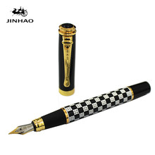 купить Jinhao 500 Black Gold Carving Fountain Pens High Quality Nib luxury Ink Pen Business Office High end student Gift Feather Pen дешево