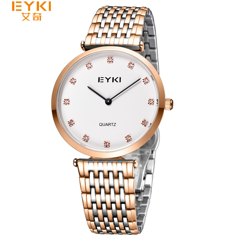 Top Brand EYKI Wristwatch Women Mens Luxury Simple Ultra Thin Rhinestone Dial Fashion Waterproof Rose Gold Case Unisex Watch