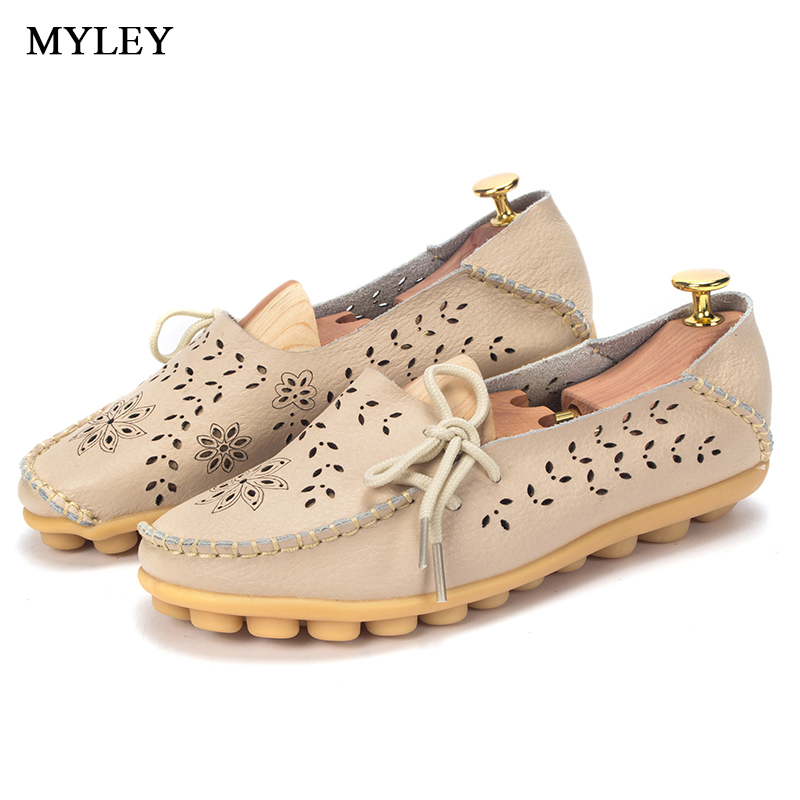 MYLEY Woman 2017 Hollow Out Genuine Leather Women Flats Shoes 4Colors Moccasins Mother Loafers Slip On Breathable Flat Shoes цена и фото