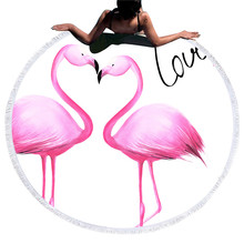 Flamingo Beach Towel Women Summer Round Microfiber Bath With Tassel for Adults Home Yoga Mat Picnic serviette de plage