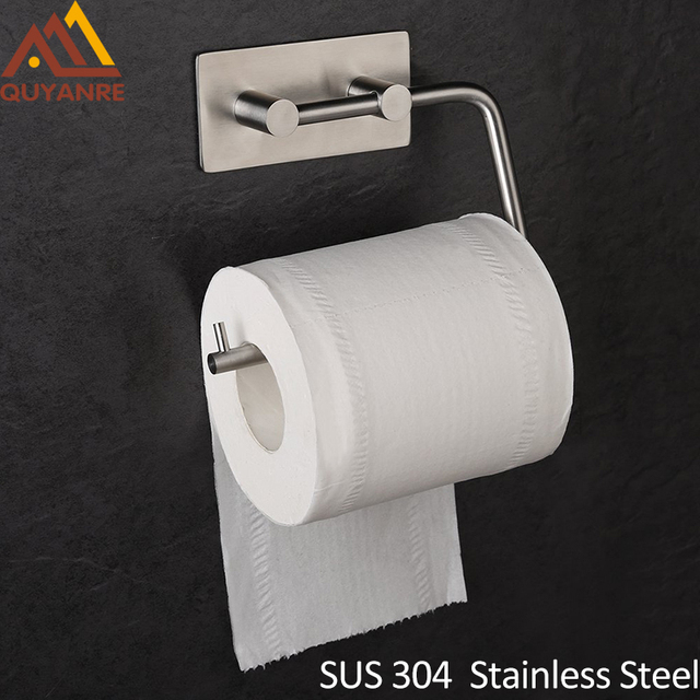 Quyanre Sus304 Stainless Steel Brushed Nickel Self Adhesive Toilet