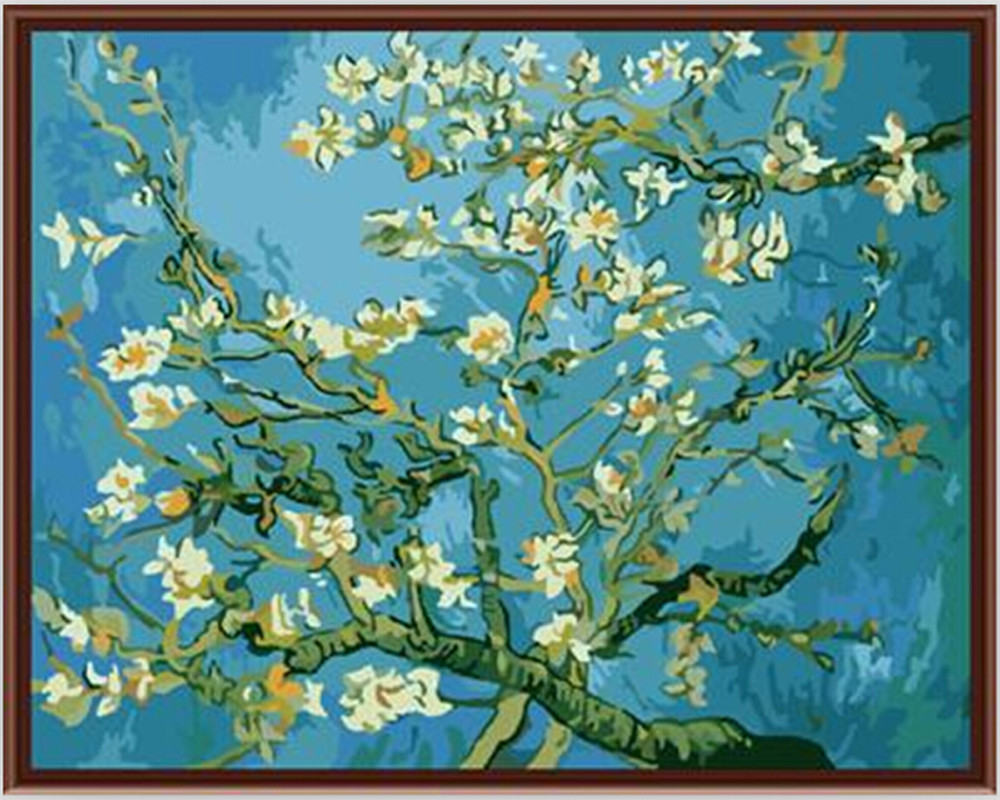 Vang Gogh Cuadros Us 7 52 49 Off Hand Painted Canvas Oil Paintings Wall Coloring Painting By Numbers Cuadros Decoracion Van Gogh Apricot Flower Picture G159 In