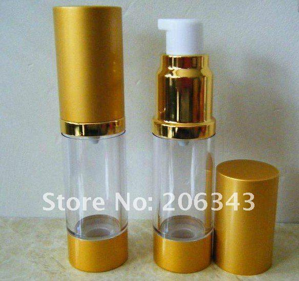 50ML NON-SHINY Zlata brezzračna steklenica z belo - Orodja za nego kože