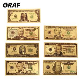 7 Uds 100/50/20/10/5/2/1 dinero falso Prop dinero ee.uu. billetes en chapado en oro 24K moneda falsa Mone regalos