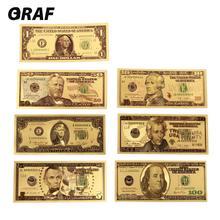 7 шт. 100/50/20/10/5/2/1 долларов, поддельные деньги, реквизит для банкнот, США, банкноты, покрытые 24-каратным золотом, поддельные деньги, подарки