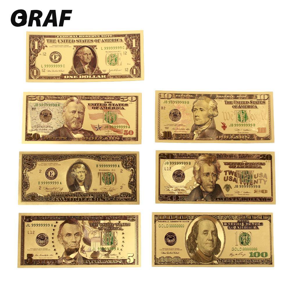 Notas falsas de dinheiro, 7 peças 100/50/20/10/5/2/1 dólar, dinheiro adereço, dinheiro dos eua, notas nota banhada a ouro 24k notas banhadas falsa moeda