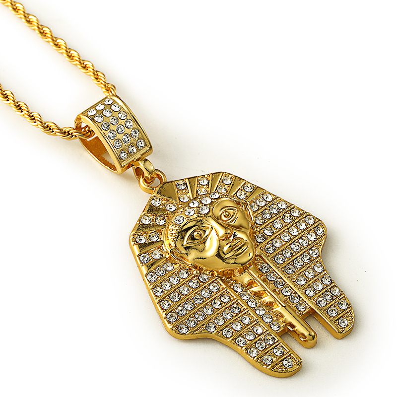 a3df5936c7281 US $8.99 |Egyptian pharaoh Cleopatra Pendant Ancient Egypt Jewelry Hip Hop  Twist Rope Chain Gold Color Necklace N244-in Pendant Necklaces from Jewelry  ...