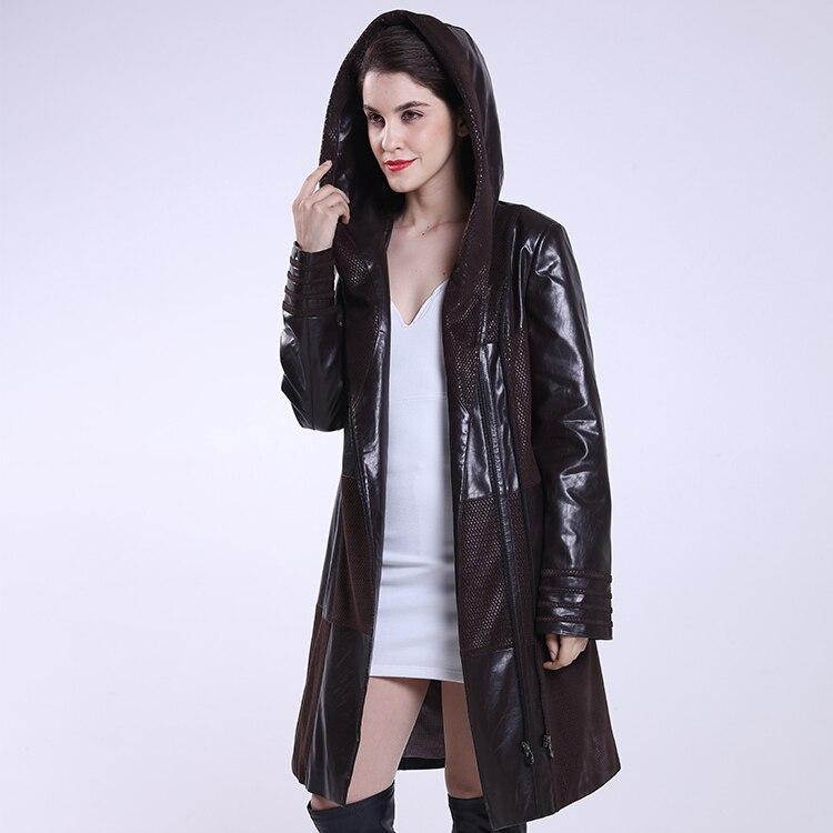 Plus Size Coat 2017 New Jacket Women Long Slim Winter Spring And Autumn Leather Clothing Female