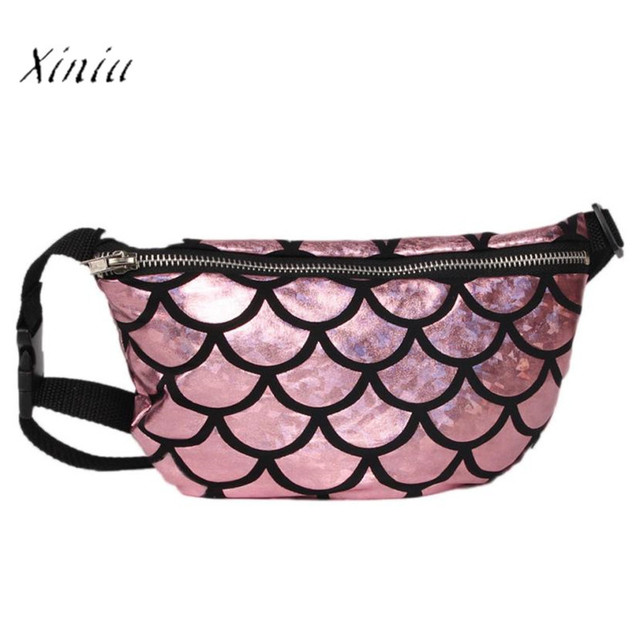 New Waist Pack for Women 2017 Roses Workout Casual Double Color Sequins Chest Bag Multifunctional Fish Scale Women Waist Bag