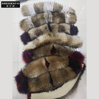Fur collar 100 percent real hair raccoon big hair collar sexy smooth fashion for a variety of coats down jacket school to overco