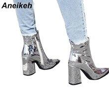 Aneikeh/женские осенние ботинки из искусственной кожи на резиновой подошве с острым носком на квадратном каблуке модная женская обувь на высоком каблуке серебристого цвета; Размеры 35-40