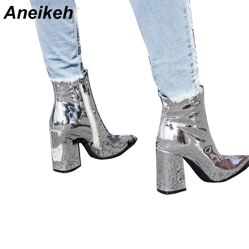 Aneikeh/женские осенние ботинки из искусственной кожи с острым носком на квадратном каблуке и резиновой подошве модная женская обувь на высоком каблуке Серебристые Размеры 35 40