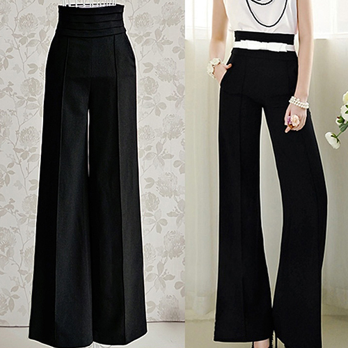 Women Sexy Fashion Casual High Waist Flare   Wide     Leg   Long   Pants   Elegant Trousers