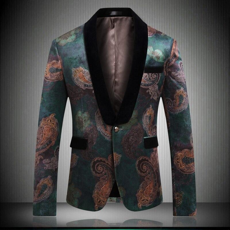 2019 New Arrival Men's Wedding Blazers Slim Fit Top Quality Green Print Blazer Korean Style Men Casual Married Jacket Summer