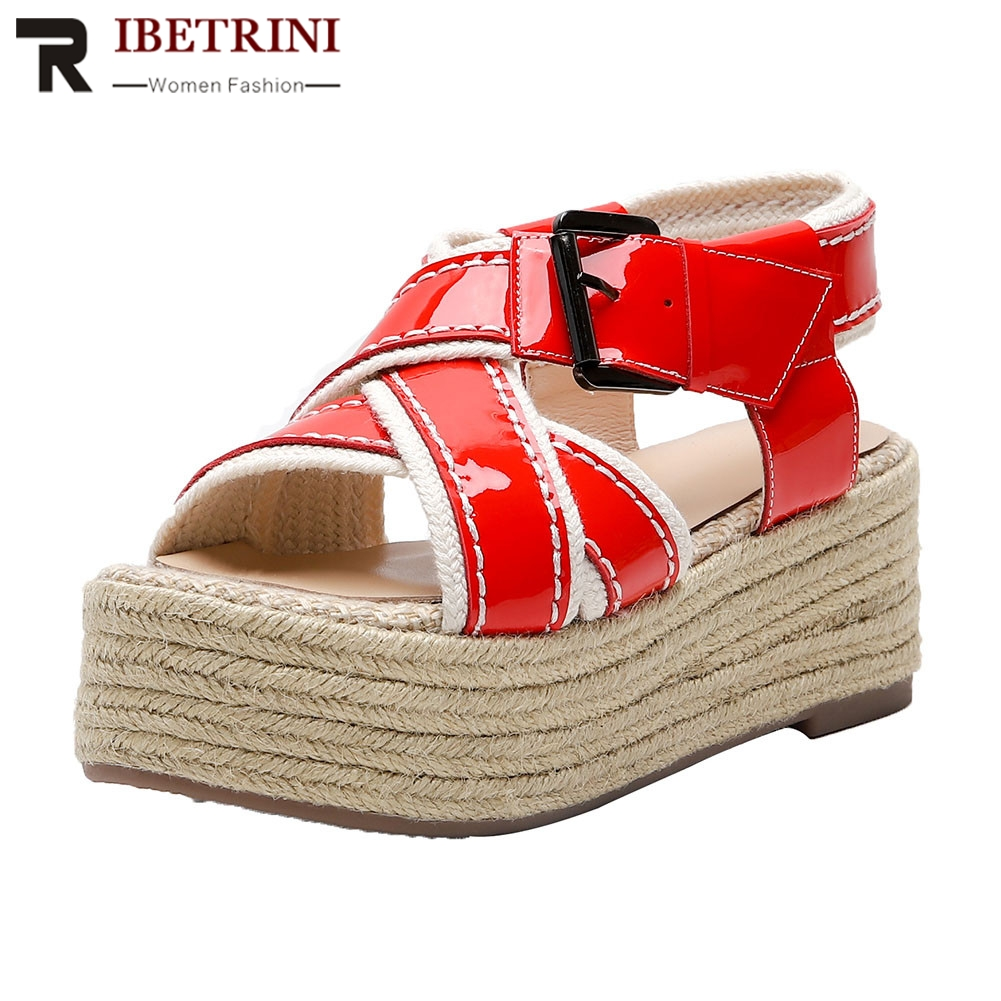RIBETRINI Brand New women's Patent Genuine Cow Leather Ladies Wedges High Heels Shoes Woman Casual Office Summer Sandals