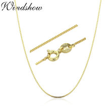 35cm-80cm Tiny Real 925 Sterling Silver with Gold Color Slim Box Chain Necklace Womens Kids Girls Mens Jewelry kolye collares(China)