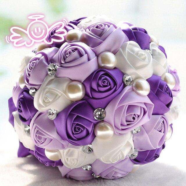 High grade 3 colors luxury crystal wedding flower purple white high grade 3 colors luxury crystal wedding flower purple white rose artificial bridal bouquet mightylinksfo