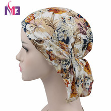 New Women Printed Flower Turban Beanie Hat Bonnet Chemo Cap  Headwear for Muslim Scarf Hijab Islamic Turbante