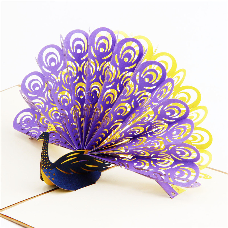 3D Peacock Origami Postcard Paper Laser Cut Pop Up Handmade Post Cards Wedding Gift Greeting Cards Souvenirs Party Supplies