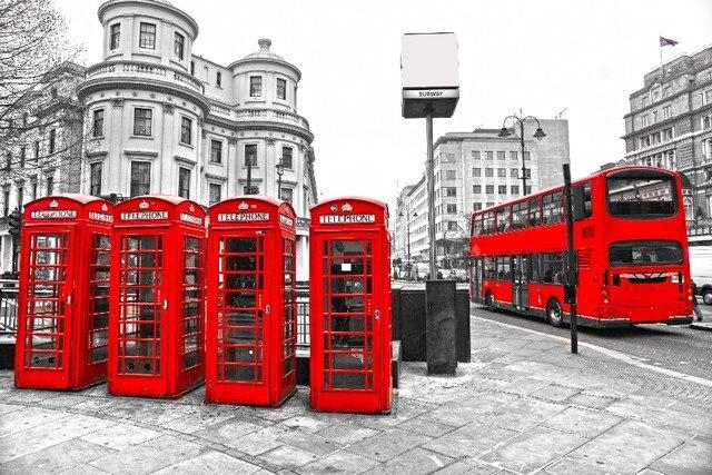 DIY frame London Red Bus Telephone Cityscape Retro Style Wall Decor ...