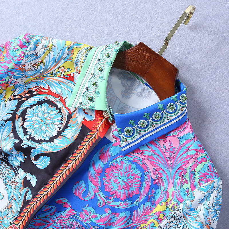 Longues Piste Set Streetwear Bleu Perles Imprimé 2 Blouse Crayon Qyfcioufu Designer Pcs Manches Floral Définit Femmes Jupe Nouveau Mode FqxEnwCv