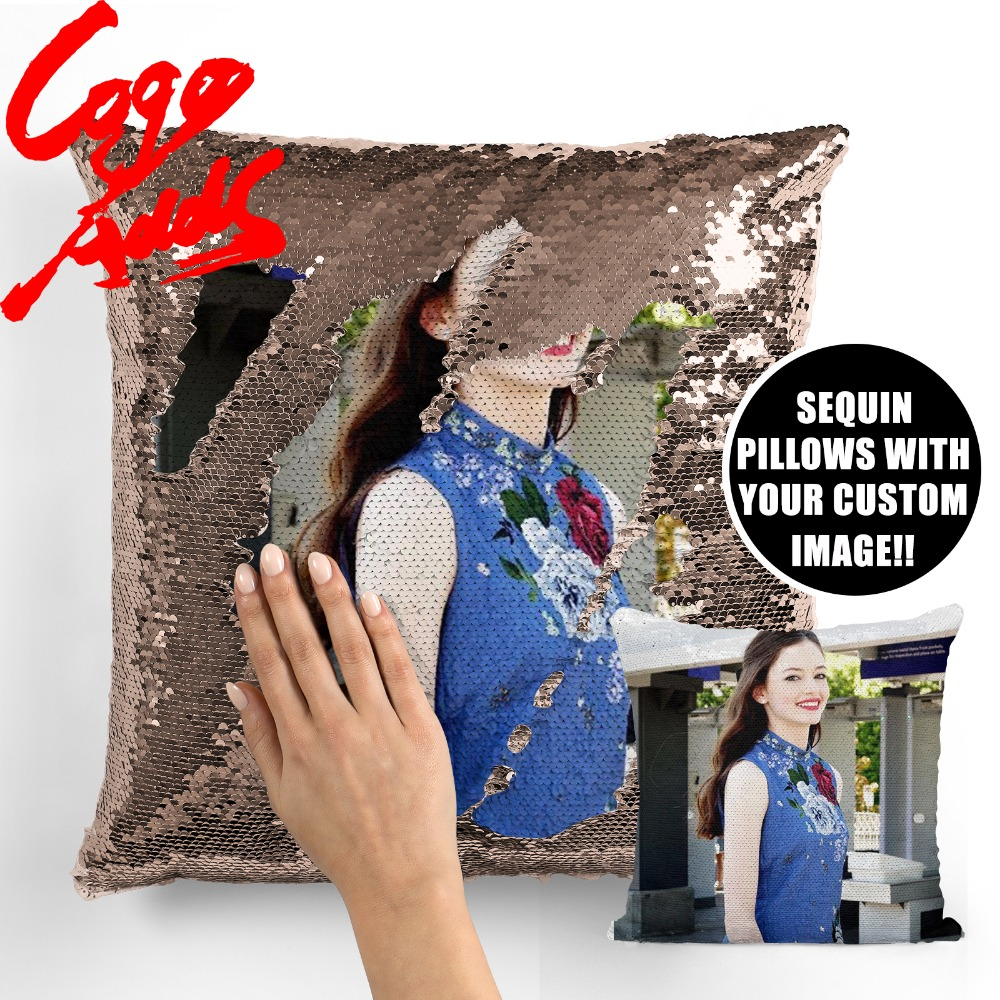 Mackenzie Foy Wedding Birthday Party Photo Sequin Cushion Cover Custom Image Reversible Sequin Mermaid Pillowcase
