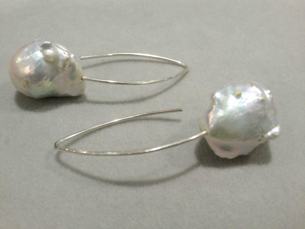 Barocka stora sötvatten pärlörhängen äkta 925 silver mode fina - Fina smycken - Foto 2