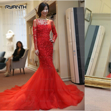 CYF46 New Long Sleeve Mermaid Red Prom Dresses 2017 Fully Flowers Lace Fishtail Evening Dress Vestido Pageant Long Train Gown