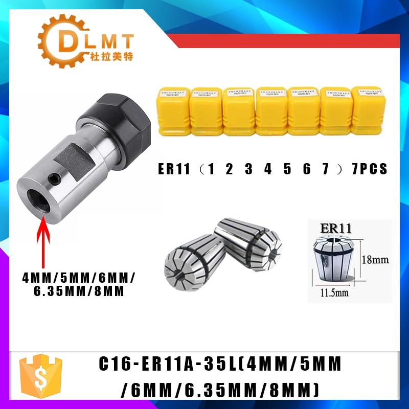 7 piezas de acero al carbono ER11 primavera Collet 1/2/3/4/5/6/ 7mm con ER11A varilla de extensión del eje del Motor HolderInner 4mm 5mm 6mm 6,35 8mm
