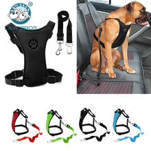 Breathable Mesh Dog Harness Leash With Adjustable Straps Pet Harness With Car Automotive Seat Safety Belt Dog Chest Straps(China)