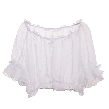Cute Lolita Blouse Transparent Women Dot Bottoming Tops for JSK Dressing Chiffon Crop Tops Lace Shirt 2