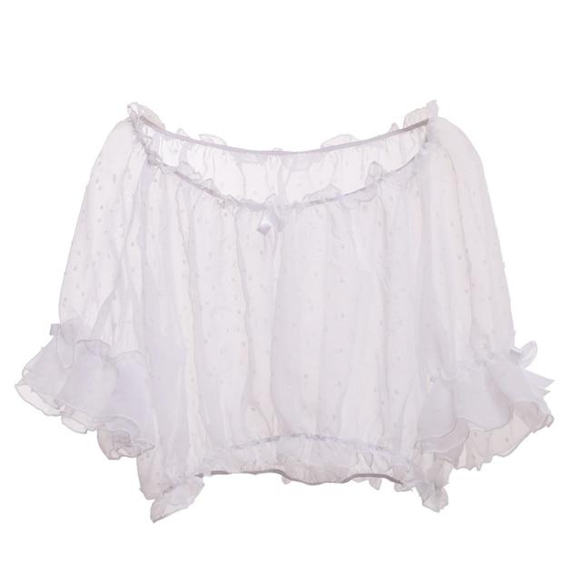 Mesh Lolita Shirt Women Summer Dot Blouses Transparent Elegant See-through Ladies Tops 2
