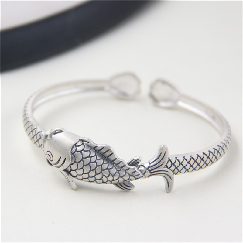 JINSE Real 999 Silver Fish Bangle Punk Vintage Animal Pure S999 Thai Sterling Silver Oval Bangles for Women Men Jewelry 15mm bangle