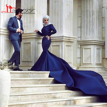 2017 Royal Blue Mermaid Muslim Wedding Dresses Long Sleeve Lace Appliques Hijab Bridal Dresses Chapel Train Arabic Wedding Gowns