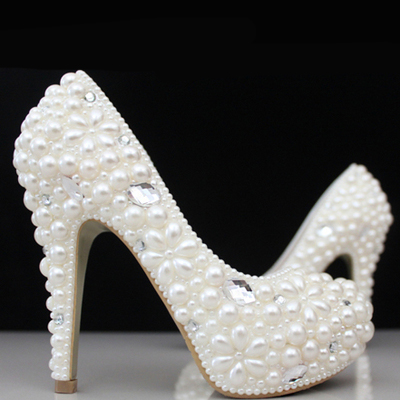 Spring summer   winter new crystal shoes wedding shoes bride shoes wedding pearl water drill h white high heel bride of the water god v 3