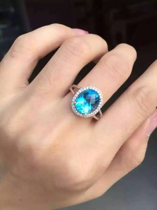 Natural blue topaz stone Ring Natural gemstone Ring S925 sterling silver trendy Elegant Surround round women's men Jewelry цена 2017