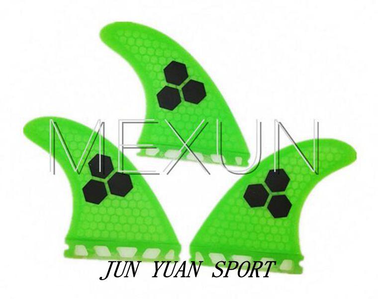 ФОТО High quality!Hot Sale Green color fiberglass Surfboard Fins G5 Surf Fin FCS Three Fins,Free Shipping