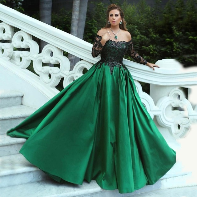cfff98985dd3 Green and Black Ball Gown Evening Dresses 2019 Off Shoulder Long Sleeves  Sequins Lace Satin Plus Size Evening Gowns Formal Dress