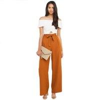 Wysokiej Talii Szyfon Pomarańczowy Pasa Sznurek Palazzo Szerokie Spodnie Nogi Kobiet OL Spodnie Długie Spodnie Spodnie Culottes