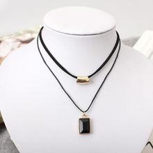 Женское Двухслойное ожерелье с подвеской из черного золота