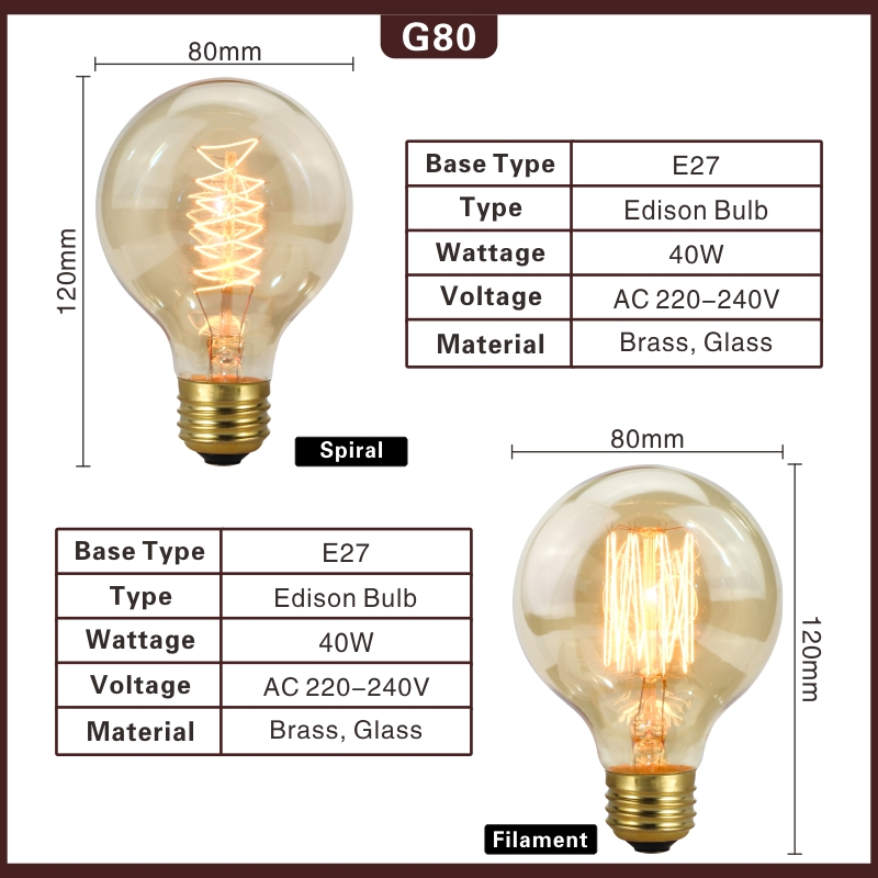 LARZI Vintage Edison Light Bulb G80 G95 Retro Lamp E27 40W Globe Incandescent Bulb 220V Filament Lighting Lampada For Home Decor in Incandescent Bulbs from Lights Lighting