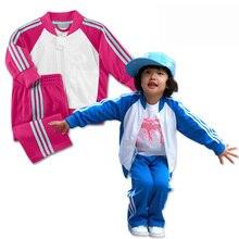 Весна осень мальчики девочки мода малыш спортивная три бара бейсбол куртка + спортивные брюки 2 шт. костюм спортивный костюм детской одежды