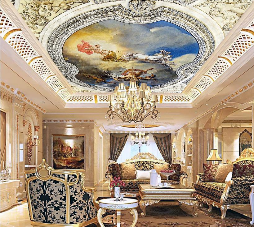 Classic European 3D Ceiling Mural Wallpaper non-woven Kids room Wallpaper angel carriage background bedroom ceiling Wallpapr ceiling non woven wallpapr home decoration wallpapers for living room 3d mural wallpaper ceiling customize size