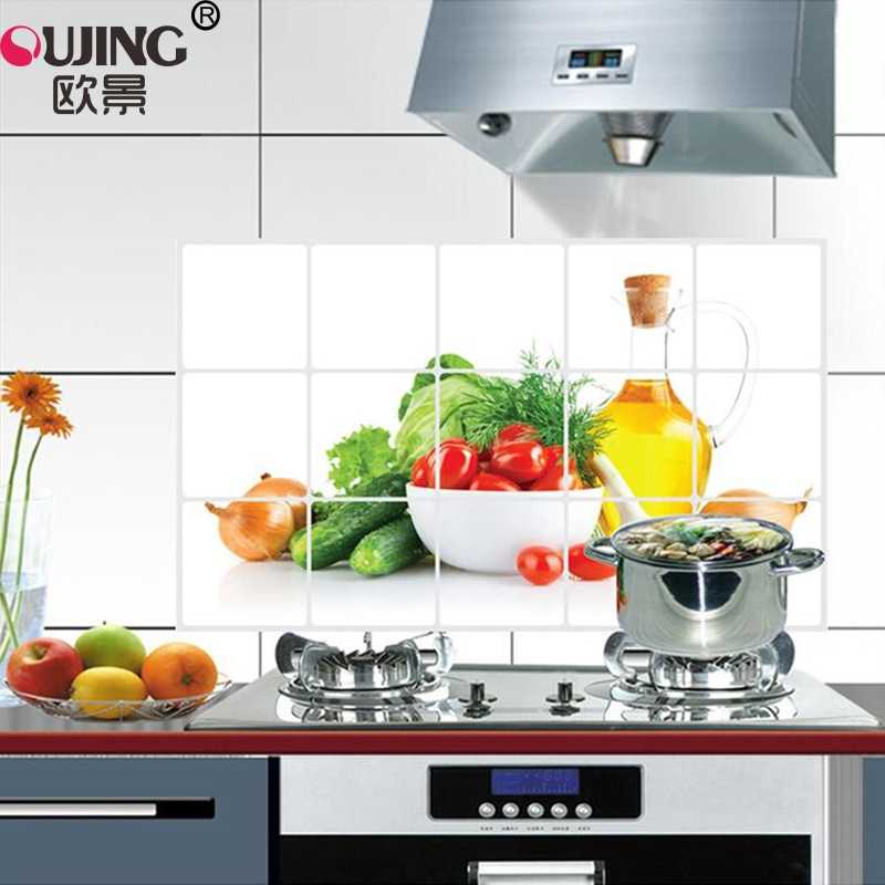 New Fruit Vegetable Anti Oil Kitchen Tiles Wall Sticker Home Decor Aluminum Foil Poster Heat Resistant Oilproof Art Mural Decals Wall Stickers Aliexpress