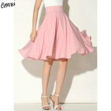 539b773c8 Midi Skirt New Summer Women Clothing High Waist Pleated A Line Skater  Vintage Casual Knee Length