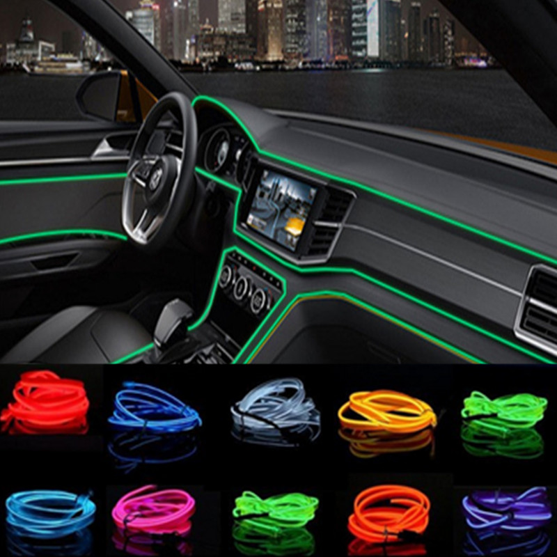Car Styling 2m Car Interior Light Ambient Light Cold Light Line Diy