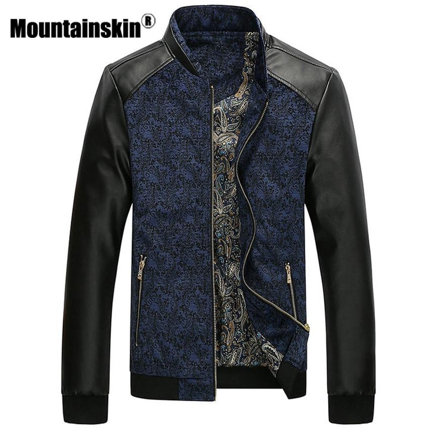 Mountainskin PU Leather Patchwork Men s Jackets 6XL Autumn Fashion Coats Men Outerwear Stand Collar Male