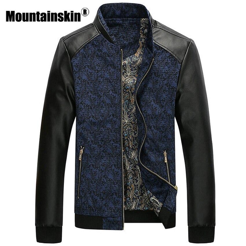 Mountainskin PU cuero Patchwork chaquetas 6XL otoño moda abrigos hombres prendas de vestir exteriores del Collar del soporte masculina ropa Slim Fit SA332