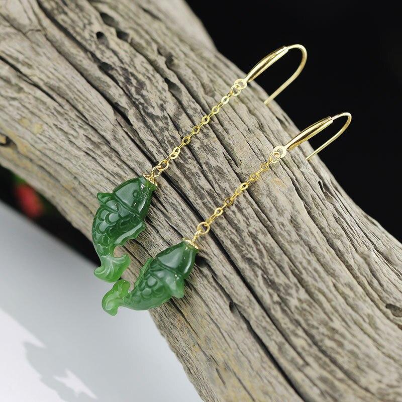 Золото Природный Хотан зеленый камень, рыба в форме Висячие серьги